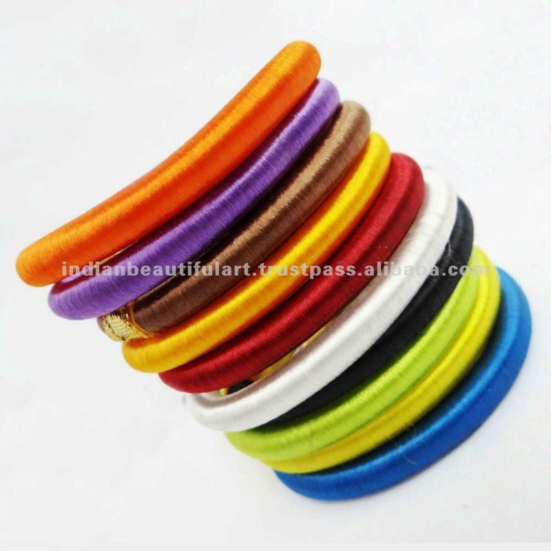 Multicolor Silk Thread Bangles Set Of 10 Wrapped Bangles Girls ...