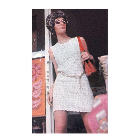 Crochet Dress Pattern Vintage Mod Mini Shift Dress Crochet Pattern ...