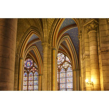 Gothic arches in cathedral Notre-Dame Paris France Canvas Art - Philippe Widling Design Pics (19 x 12)