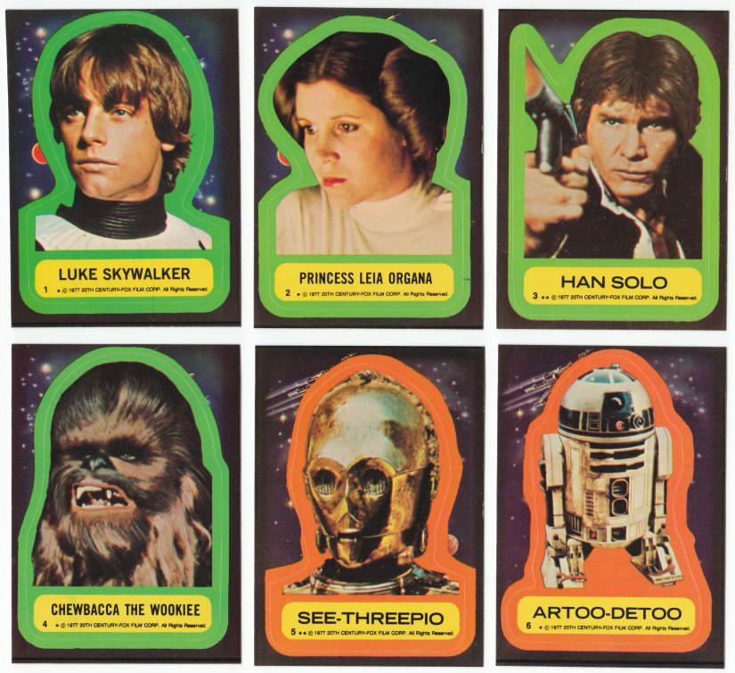 2f13ef32b46 STAR WARS TRADING CARD SERIES 1 STICKER SET  1977
