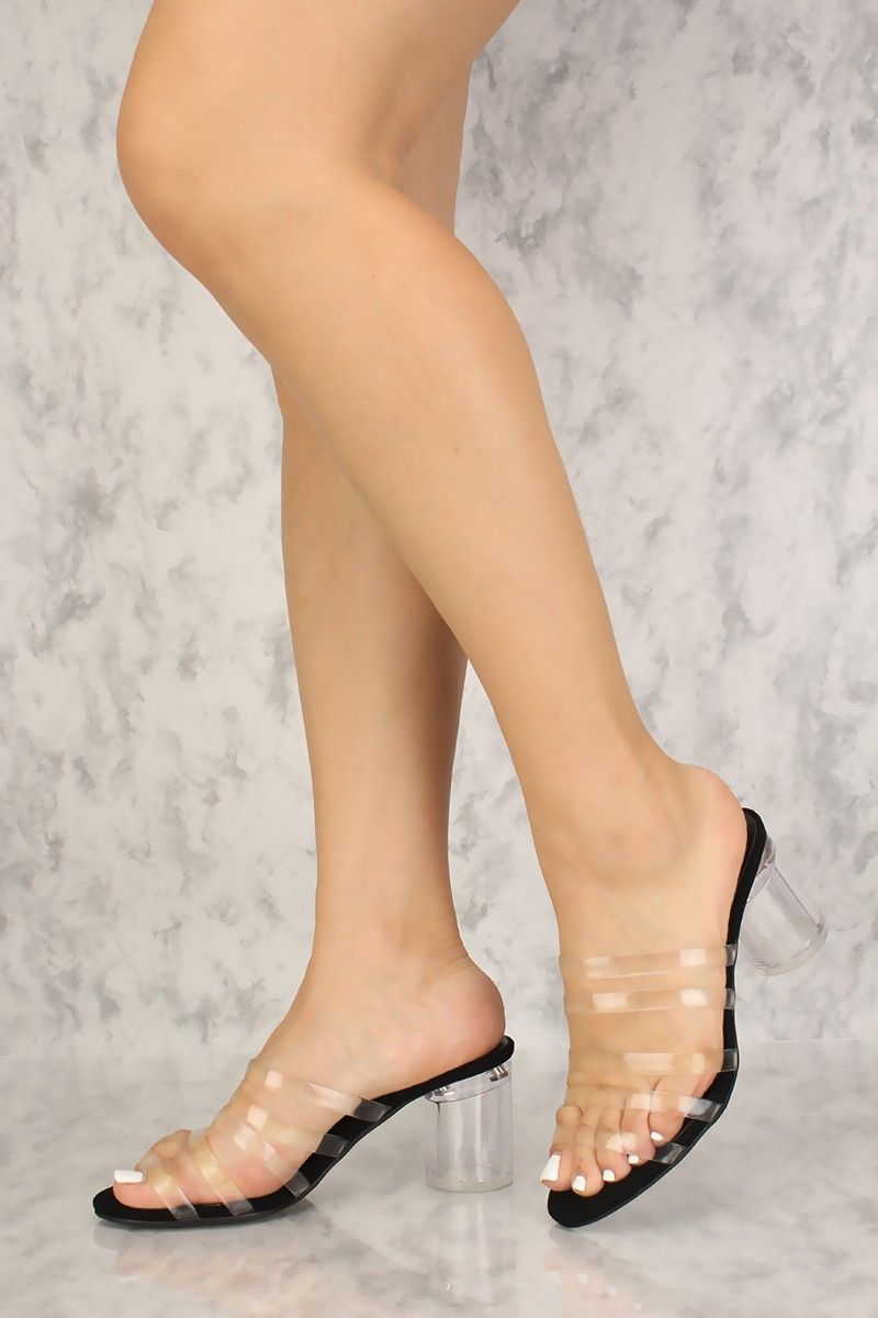 d8ceec9aca6 Sexy Clear Black Strappy Open Toe Chunky Heels Single Sole