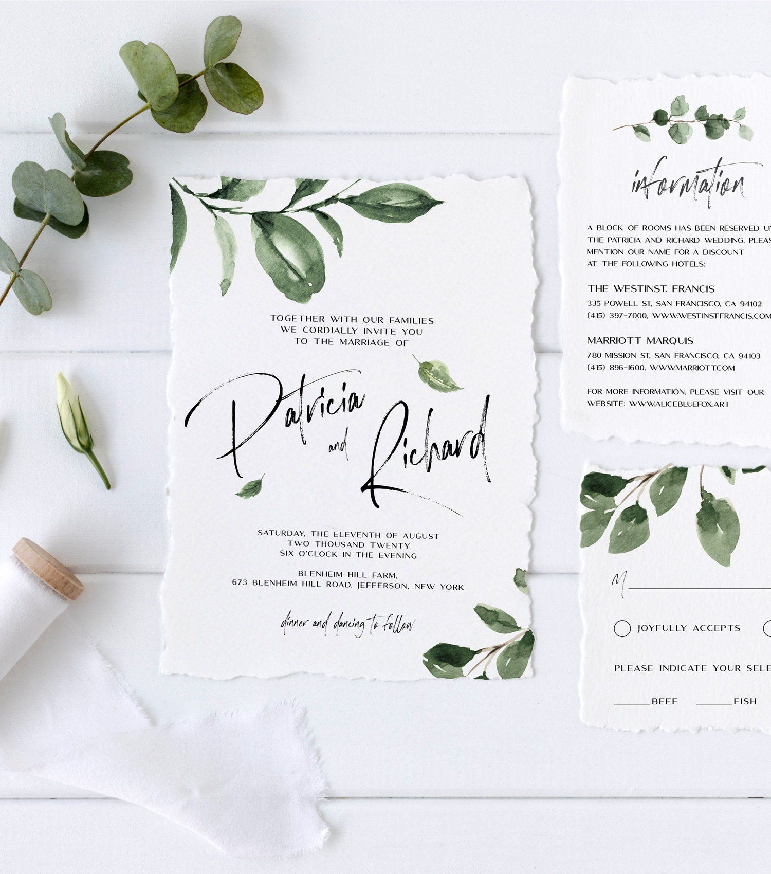 Wedding Invitation Suite with HandPainted Watercolor Greenery, Details Card, RSVP Card, Envelope Liner, Editable Template, AB15 01 000 is part of Wedding invitation suite - items search query AB15 01 HOW TO USE  •  Just minutes after purchase, you'll get access to your purchased template  •  Follow the link to access your template  •  Make all your changes to the template, save and download  •  Print on your Home Printer or send them to professional Print Shop  WHERE TO PRINT  Home Printer, Professional Print Shop, Online Print Shop or any Local Print Shop  For printing you can use PDF, JPG or PNG files  NEED HELP OR CUSTOMIZATIONS   Please contact us via contact form or visit our website www alicebluefox art  IMPORTANT NOTES  •  DON'T edit the files on Mobile or Tablet devices  •  Use Desktop computer or Laptop only  •  Heavy card stock or watercolor paper recommended  •  Before final printing, we recommend to make a test print to ensure that you like everything (print quality, colors, etc )  TERMS OF USE  You can use this Product for personal purposes only  To learn more about License, please see our FAQ  If you have any questions regarding this Product, please write us back, we will be happy to help you! [id1188020,1188028,1188037,1184426]