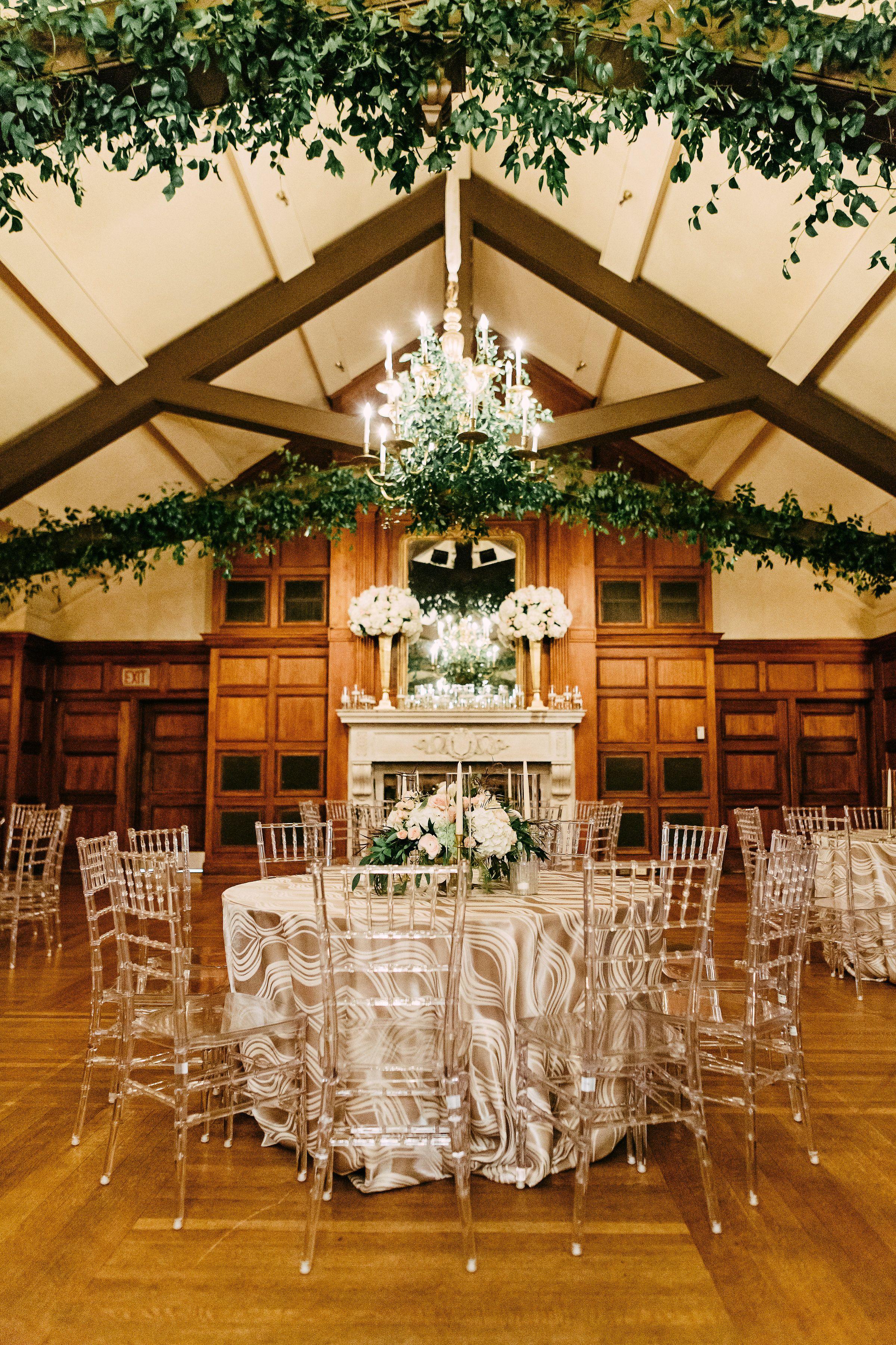 Clear Acrylic Rustic Wood Romantic Wedding Reception Dining