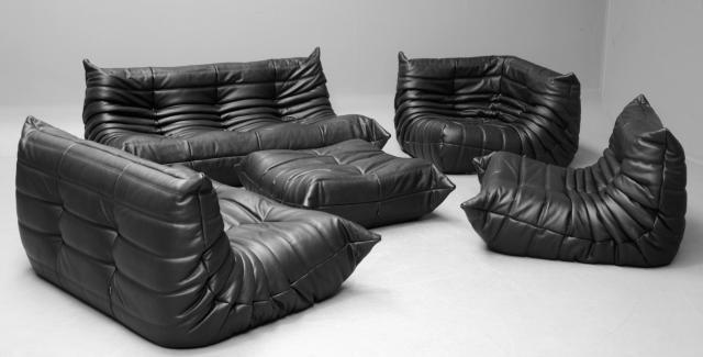 Vintage Black Leather Togo Sofa Set By Michel Ducaroy For Ligne
