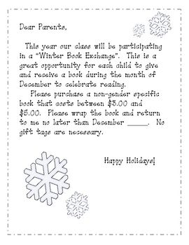 Winter Book Exchange December Ideas For School Letter To Parents
