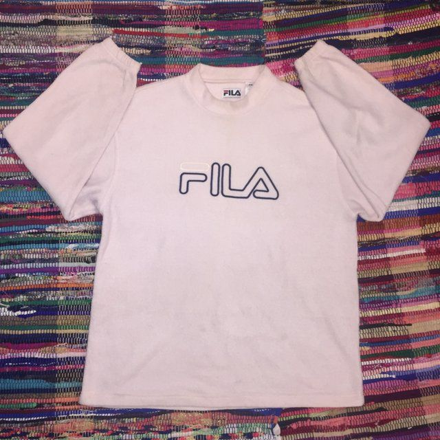 d3f231974d54 Men s Vintage 90 s Fila Embroidered Big Logo Spell Out Crew - Depop