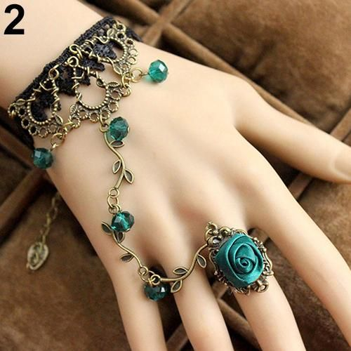 Photo of Retro Gothic Women Lace Flower Hand Slave Harness Bracelet Chain Ring Jewelry – Green