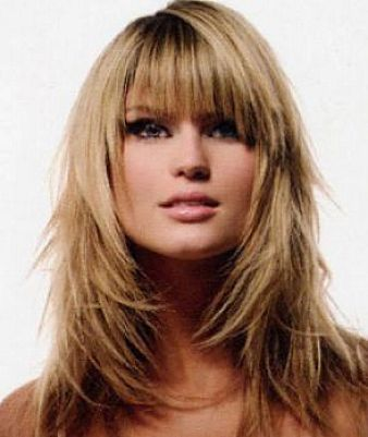 Long Layered Hairstyles With Bangs Round Face Long layered