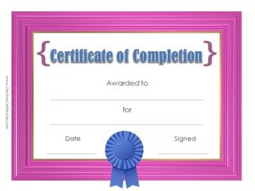 Printable Certificate With Pink Frame And A Blue Award Ribbon