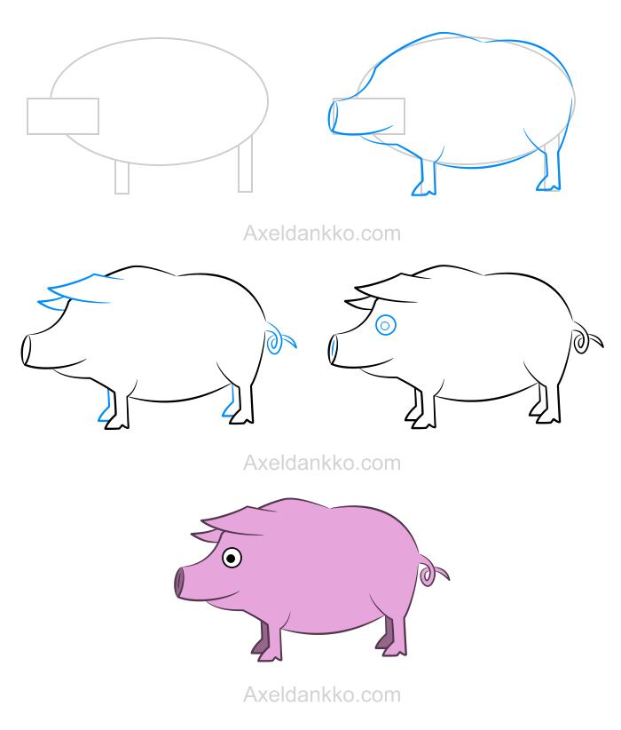 Comment dessiner un cochon dibujos - Cochon a dessiner ...