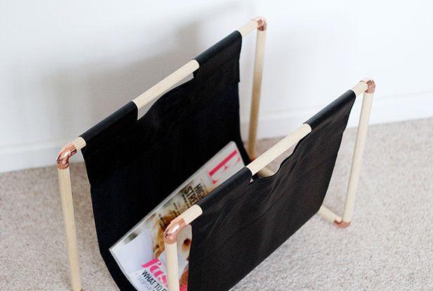DIY  fabriquer un porte-magazine en bois et cuivre Bricolage