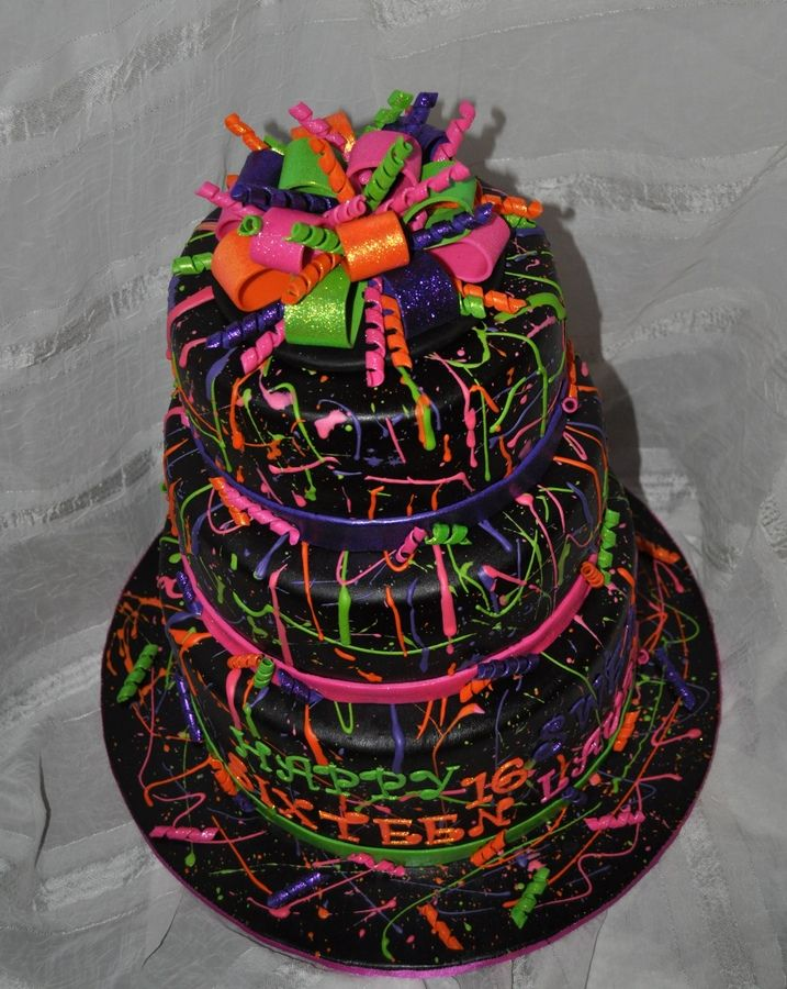 Neon Paint Splatter Cake Birthday Cakes Love the bow Christy O