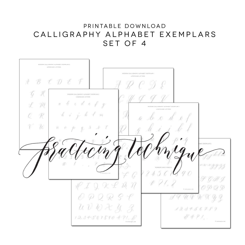 Set Of 4 Printable Calligraphy Practice Alphabet Exemplars