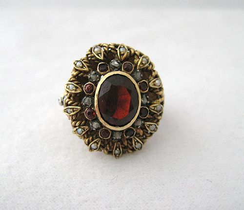 Elegant Garnet Ring Surrounded by Rose Cut Diamonds and Seed Pearls, Decorative Shank that can only be slightly adjusted from size 5, set in 14k Yellow Gold (4MH) - $699
