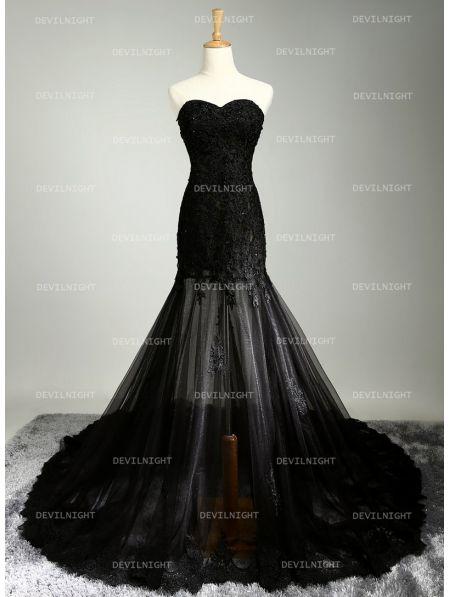 Black Lace Mermaid Gothic Wedding Dress Devilnight Co Uk Black