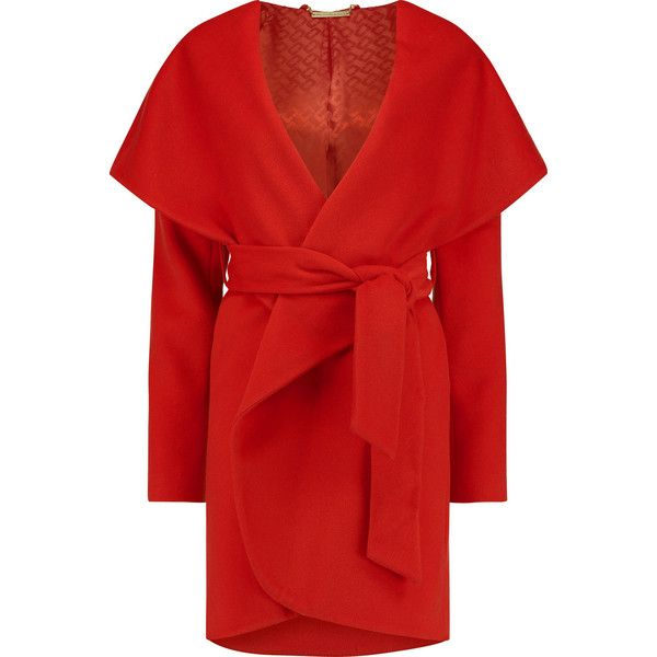 Diane von Furstenberg Wool coat (2.490 RON) ❤ liked on Polyvore featuring outerwear, coats, red, red wool coat, wool coat, diane von furstenberg, red coat y woolen coat