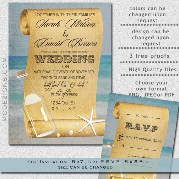 Message In A Bottle Wedding Invitations: Printable Shabby Chic Message In A Bottle Beach Wedding In