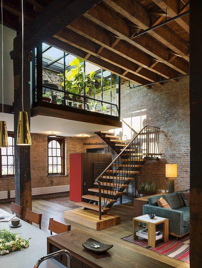 meuble style industriel pas cher pour le salon style industriel et escalier dintrieur en bois