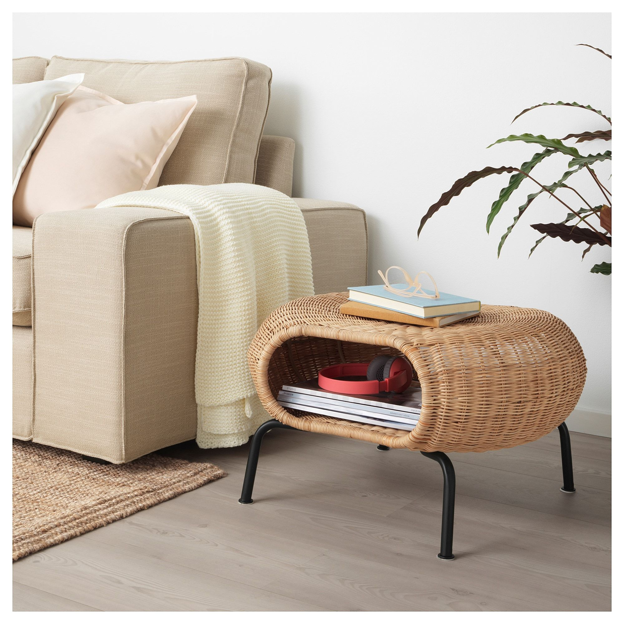 Gamlehult Footstool With Storage Rattan Anthracite