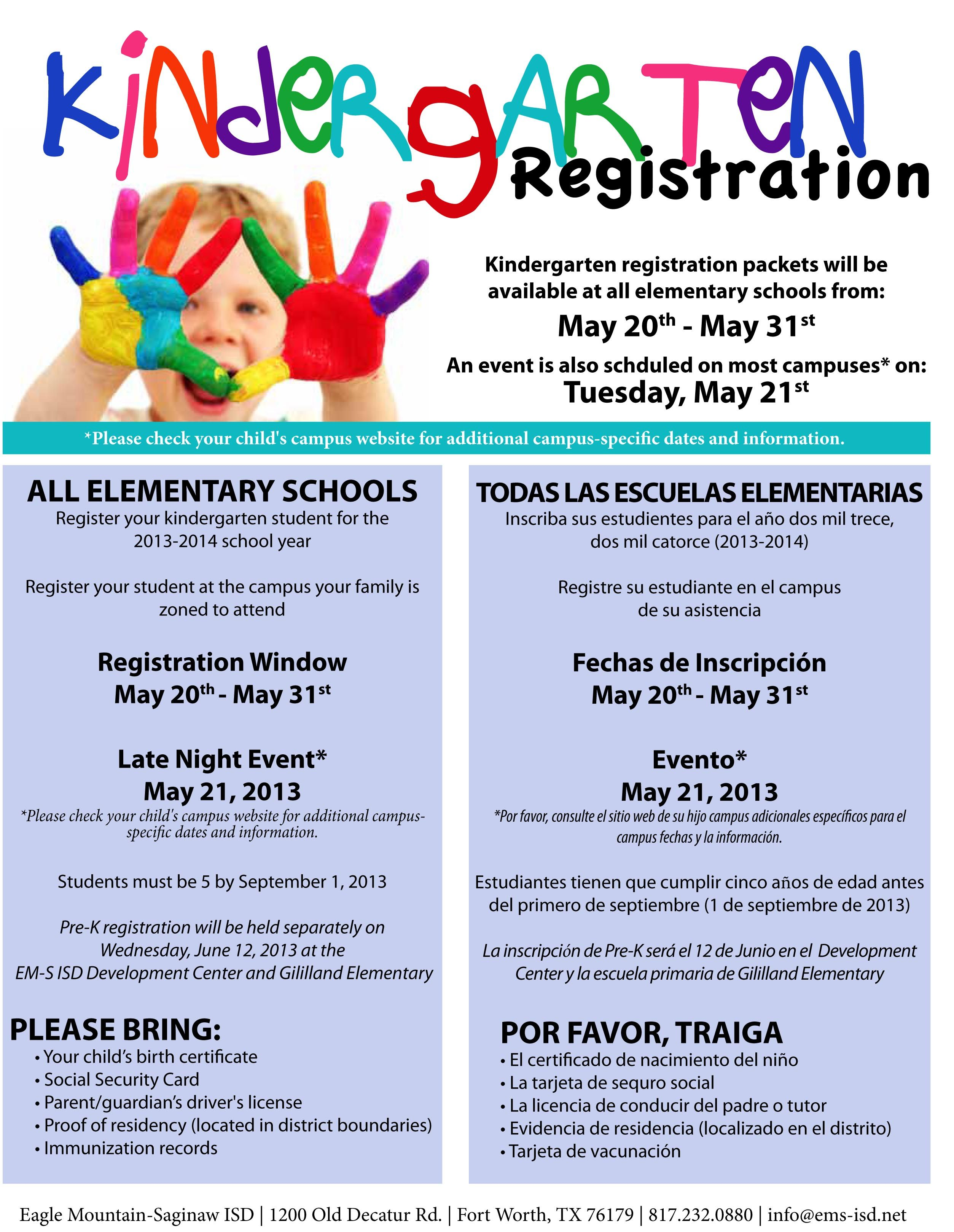 Kindergarten Registration Flyer Google Search Pre K Registration