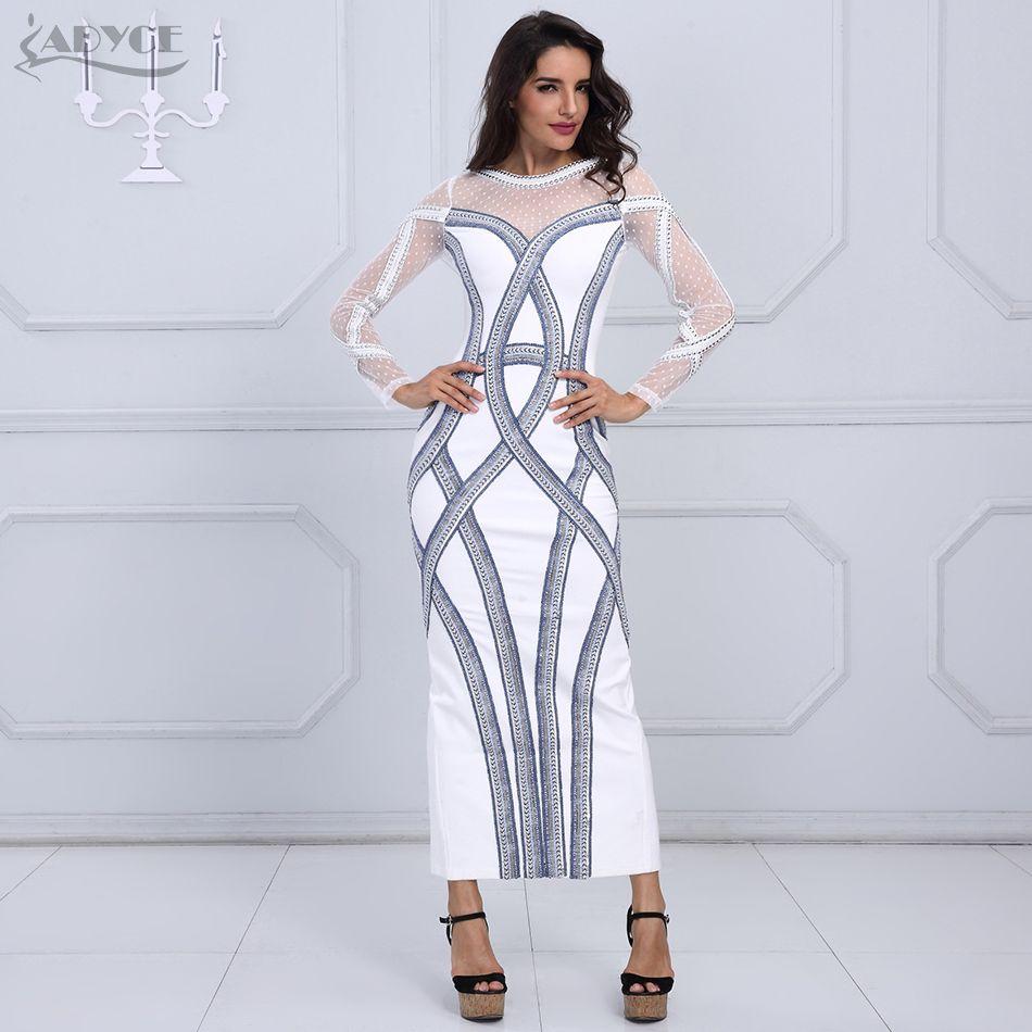 Women winter luxury gown maxi dress white long sleeve diamonds