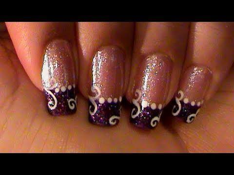 Purple Glitter French Manicure White Swirls Nail Art Design Tutorial