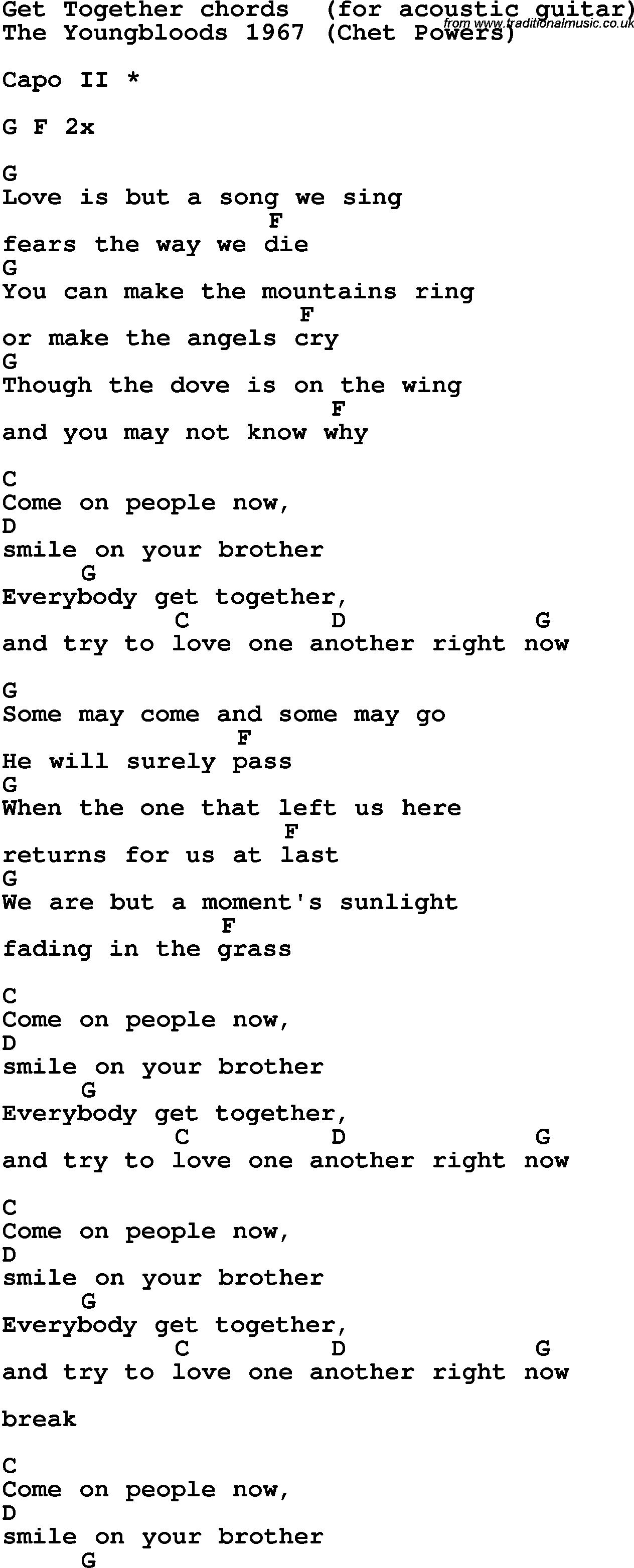 Song Lyrics With Guitar Chords For Get Together Ukuleleforbeginners