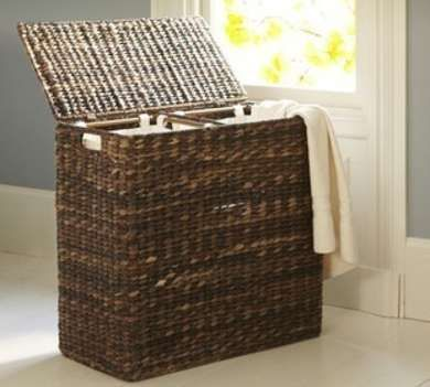 Wicker Laundry Basket With Two Compartments Pottery Barn