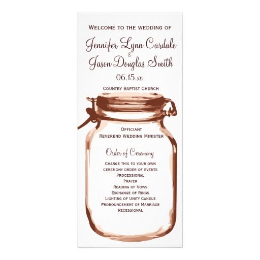 Rustic Country Mason Jar Wedding Programs Rack Card Template SOLD - change order template