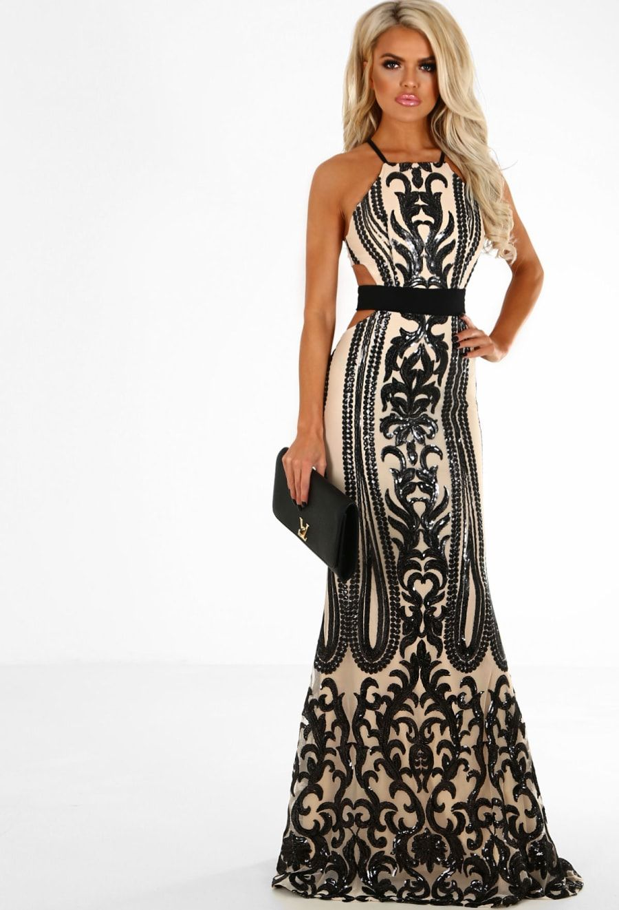 550b7f61eefd All A Dream Nude and Black Sequin Cut Out Maxi Dress - 16   formal ...