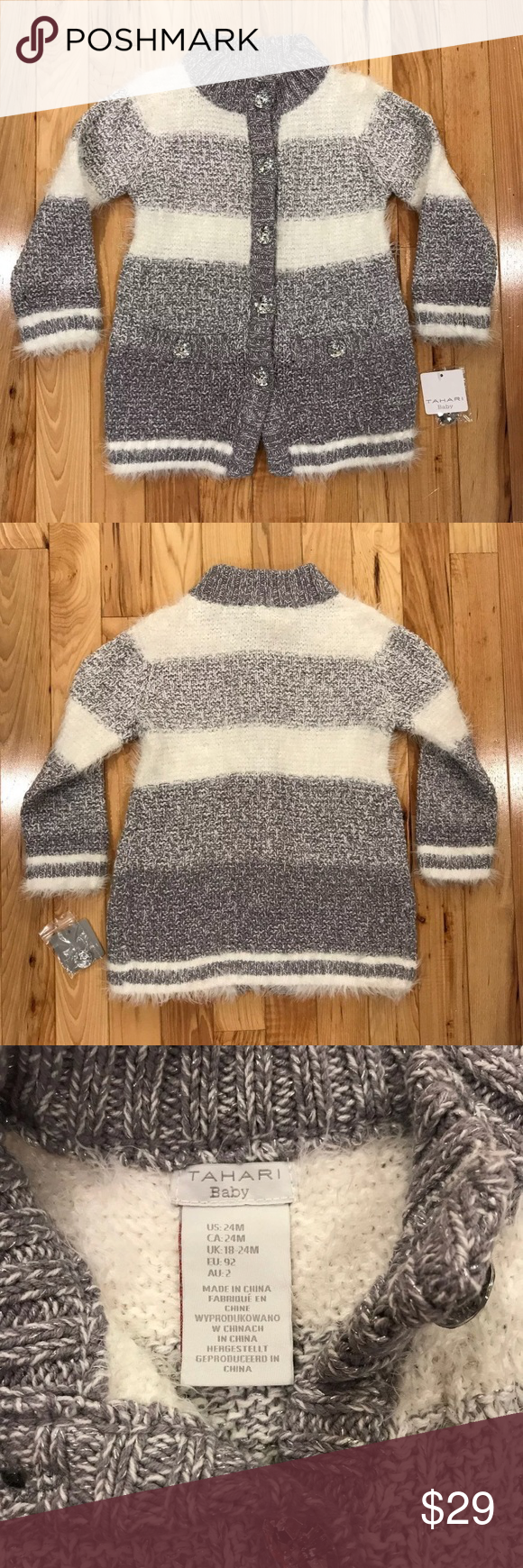 9b4fb984f9f4 🆕 Tahari Baby Fuzzy Cardigan Sweater 24 Months New with tags Tahari ...
