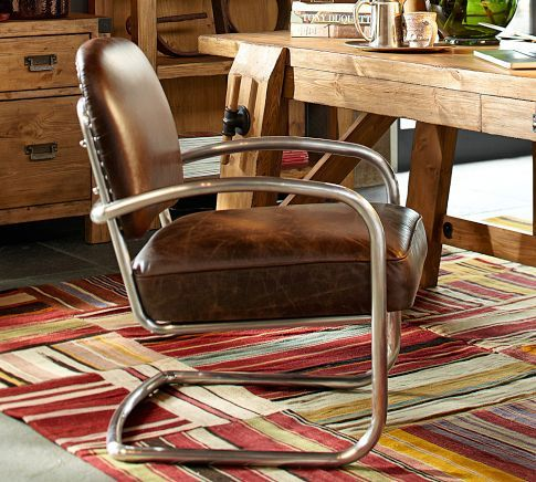 Archer Leather & Metal Desk Chair | Pottery Barn