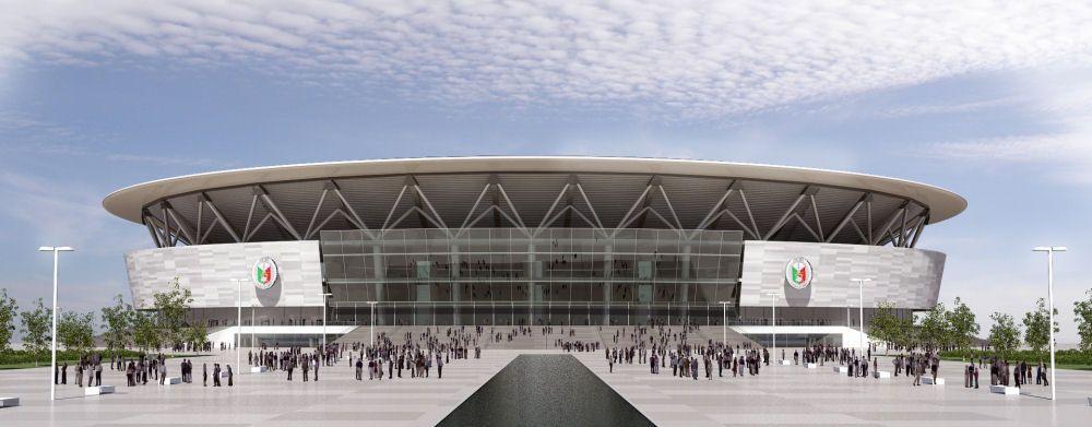 Populous Designs World S Largest Arena In Manila Stadium Design Landscape Architecture Model Indoor Arena
