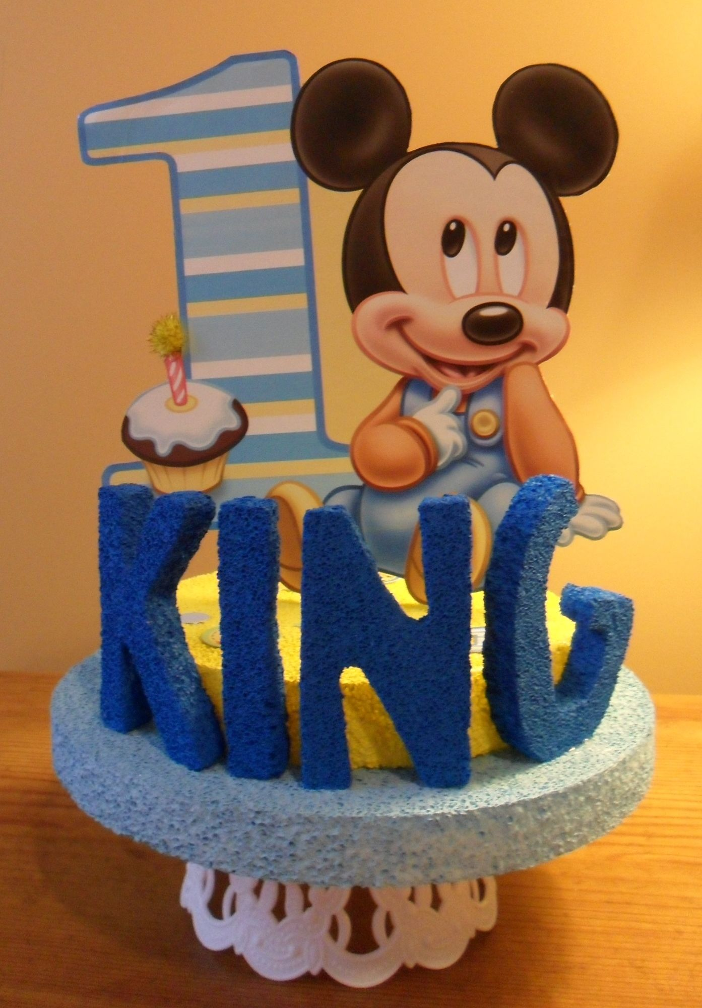 Baby Mickey Mouse First Birthday Personalized Cake Topper or