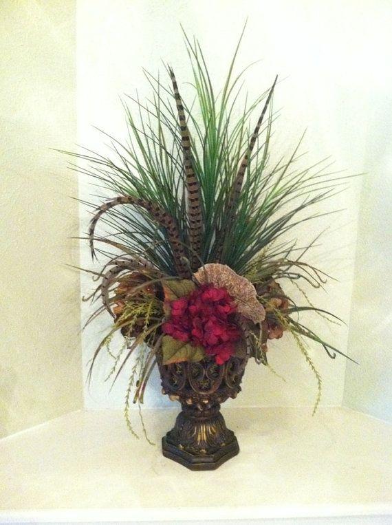 Silk floral arrangement for foyer table sofa