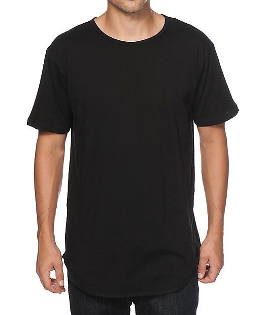 Upgrade your street style with an elongated rounded drop tail hem in a soft  cotton construction and basic black colorway. ca39cb1cb