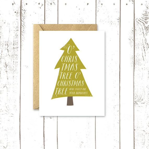 Holiday Card, Christmas Tree Card, Holiday Typography with Kraft Envelope