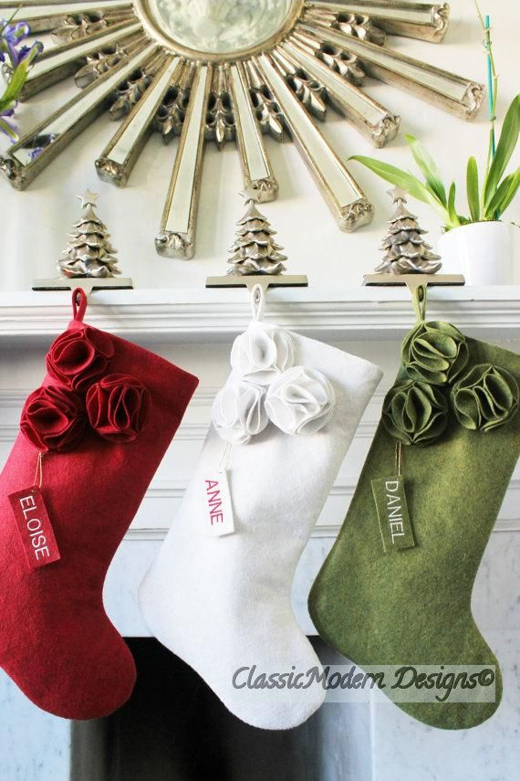 3e2a1ce69 Set of 3 Personalized Wool felt Modern Christmas Stockings