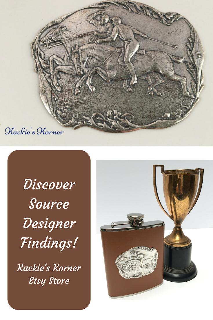Silver Vintage Victorian Designer Finding Medallion