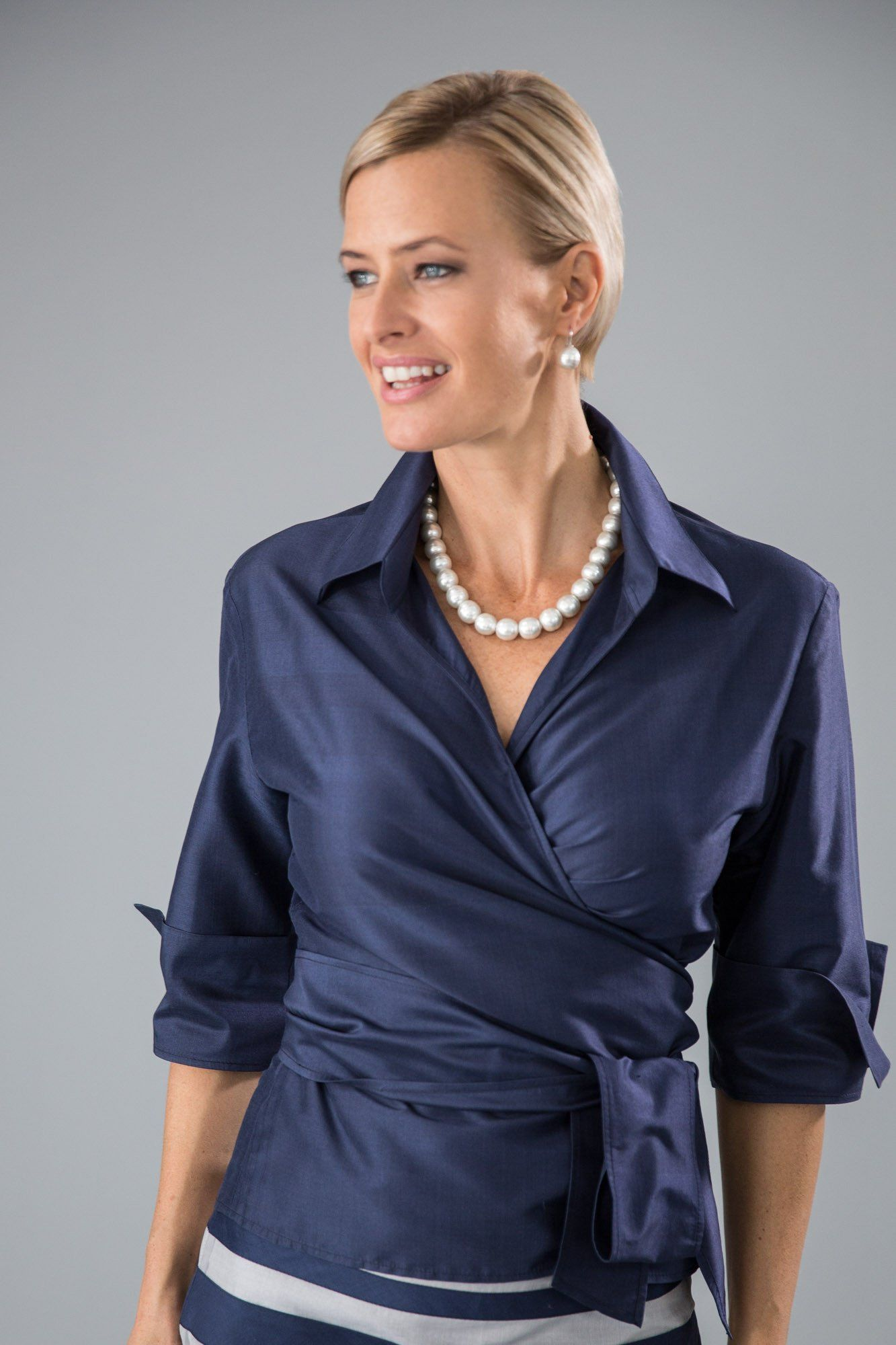 8387bd5114e Midnight blue  Navy Blue Pure Silk Classic Wrap Shirt for the modern and  elegant mother of the bride and mother of the groom.