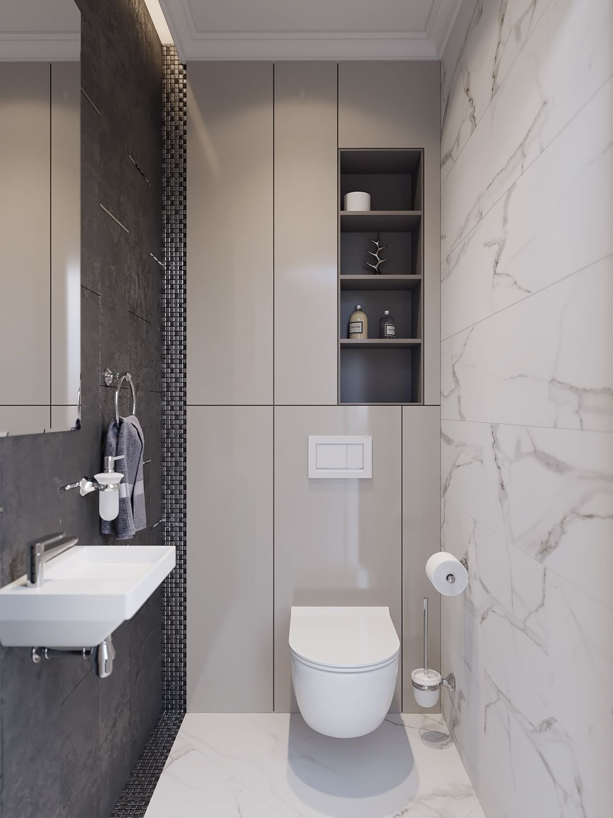 Small Bathroom With A Ton Of Hidden Back Wall Storage