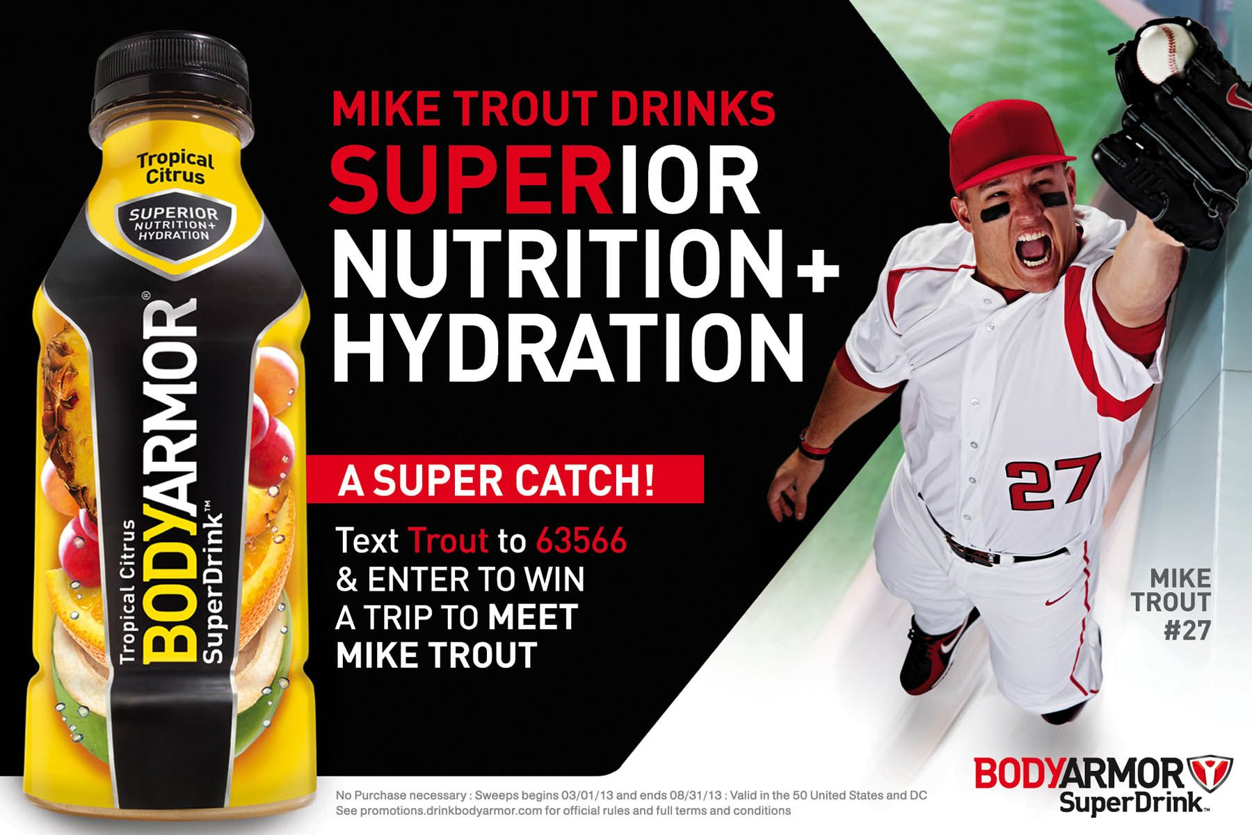 Mike Trout photographed for BodyArmor sports drink by
