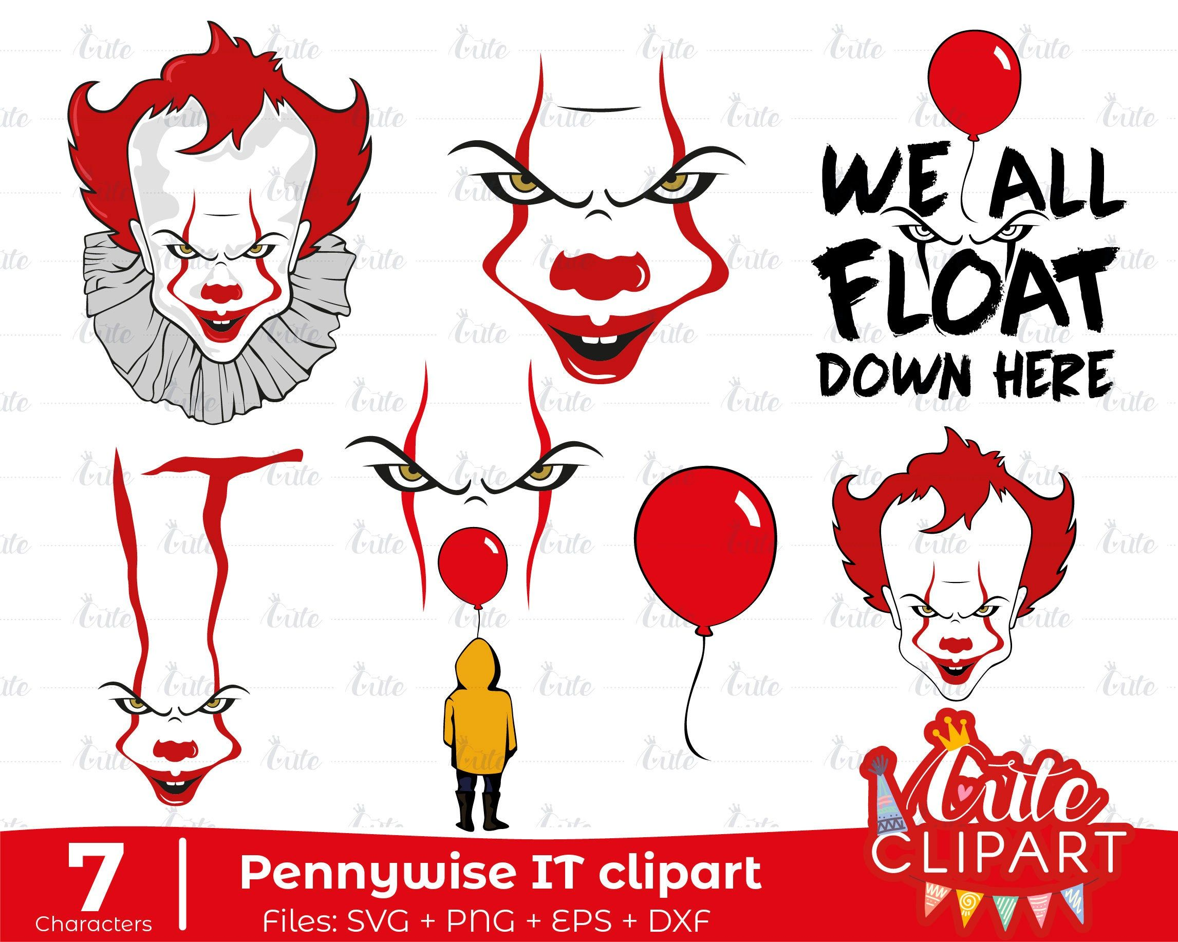It 1 and 2 Pennywise Evil clown clipart fan made version