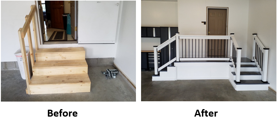 Here Is The Old Steps In The Garage And Then The Landing After Garage Stairs Garage Remodel Garage Entry Door