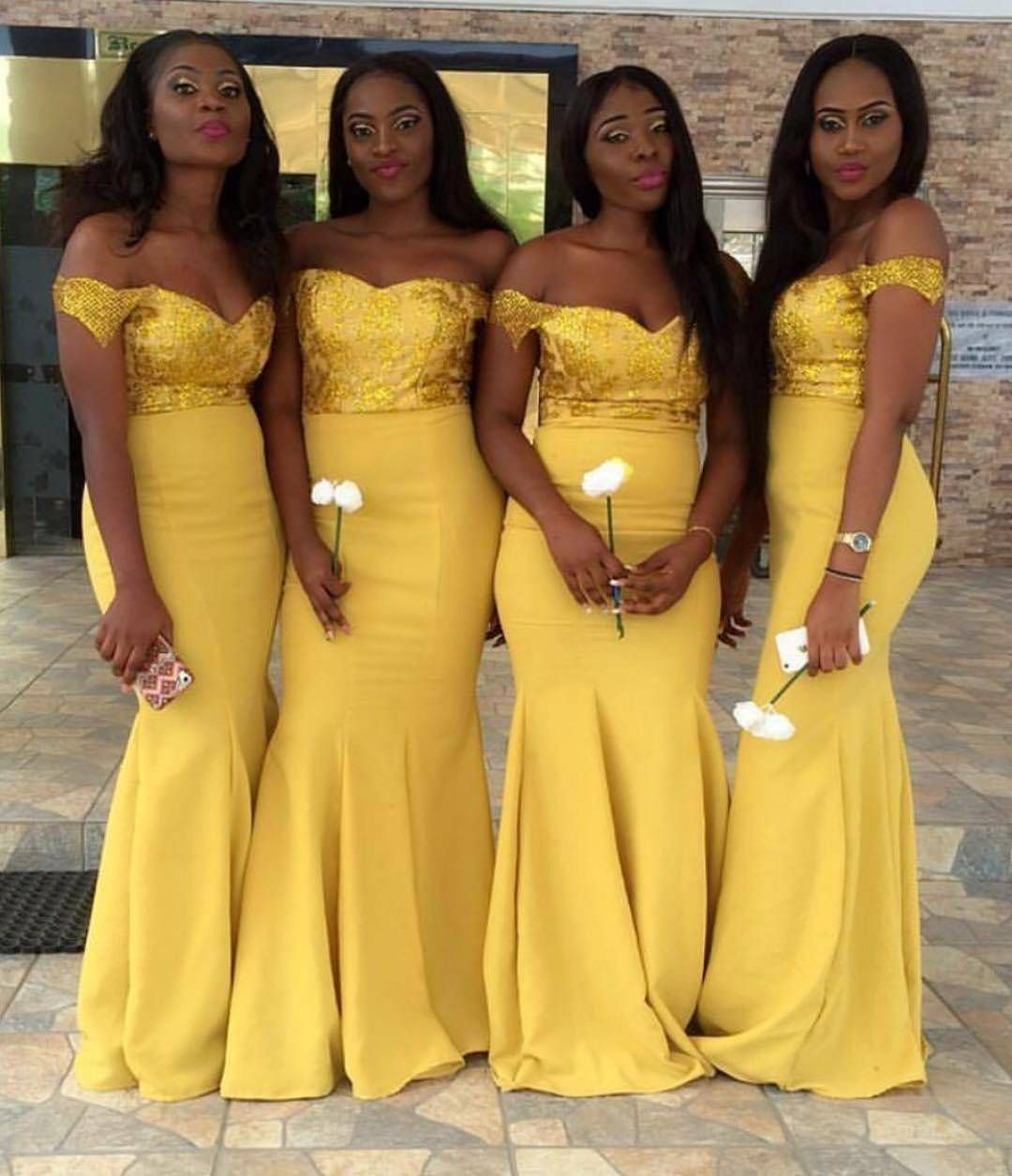 12b3079ab1 Gorgeous bridesmaids in mustard yellow! Dresses by   kattysmagnificentcouture  bridesmaids  bridalparty  dressinspiration   lovely