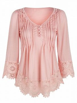 8a19b875bdb717 Pink V-neck Ruched Lace Trim Cropped Sleeve Blouse