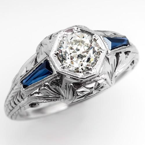 Art Deco Diamond & Sapphire Engagement Ring 18K White Gold 1930's - EraGem