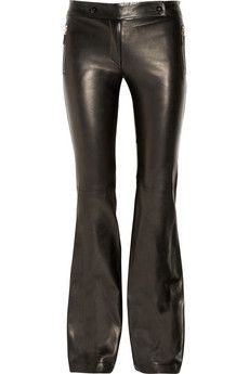 Alexander McQueen   Leather mid-rise flared pants   NET-A-PORTER.COM