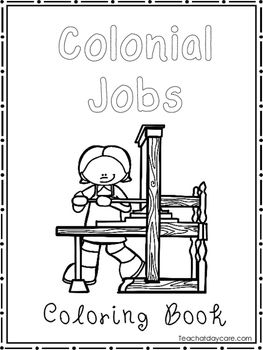 Colonial Jobs Coloring Book worksheets. Preschool-2nd