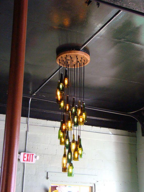 Image result for wine bottle chandelier